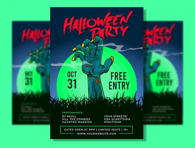 Halloween partij poster sjabloon