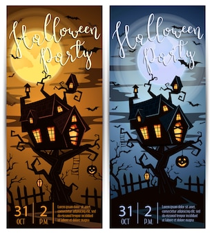 Halloween-partij verticale flyers met griezelig kasteel