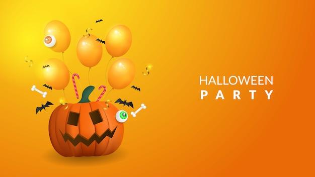 Halloween-partijachtergrond met 3d pompoen