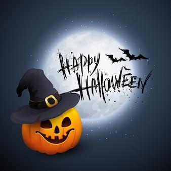 Halloween-partijachtergrond met pompoen en maan in de rug.
