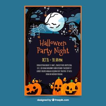 Halloween-partijaffiche in vlak ontwerp
