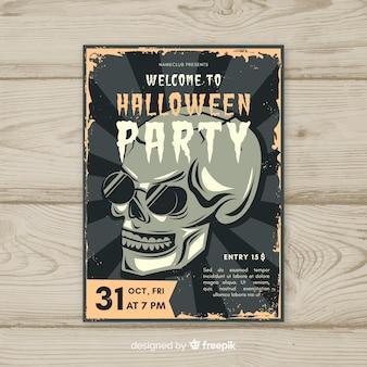 Halloween-partijaffiche met uitstekende stijl
