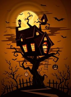 Halloween-partijillustratie met kasteelsilhouet