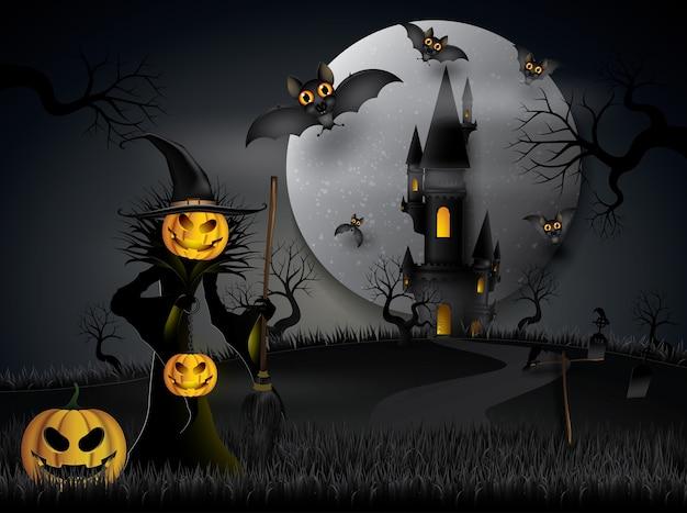 Halloween-partijknuppels die in de nacht vliegen