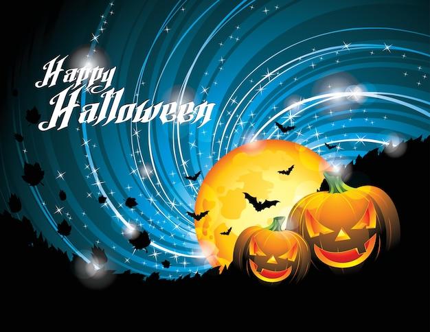 Halloween party achtergrond met pompoenen en maan. eps 10 illustratie.