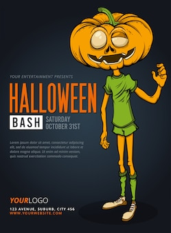 Halloween party bash pompoen man poster