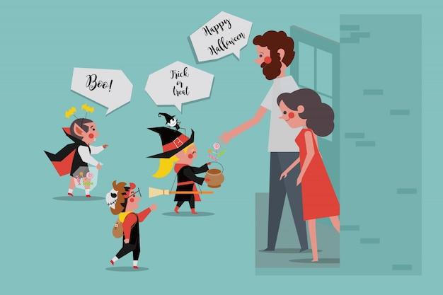 Halloween party kids zeggen trick of treat