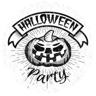 Halloween party logo met lachende pompoen. illustratie.