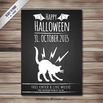 Halloween party poster in blackboard