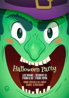 Halloween party poster plat ontwerp
