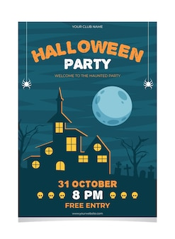 Halloween party poster platte ontwerpsjabloon