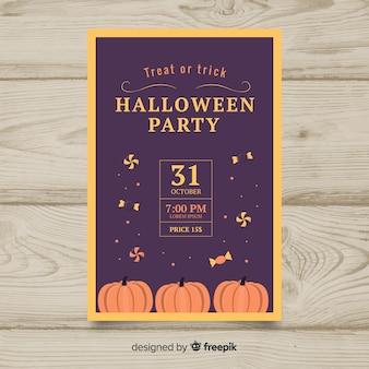 Halloween party poster sjabloon in platte design