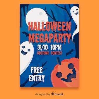Halloween party poster sjabloon plat ontwerp
