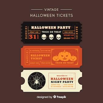Halloween party ticket collectie met vintage design