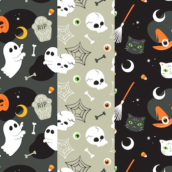 Halloween patronen in plat design
