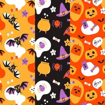 Halloween patronen in plat design