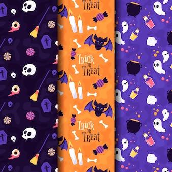 Halloween-patronen in plat ontwerp