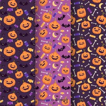 Halloween-patroon collectie vlakke stijl