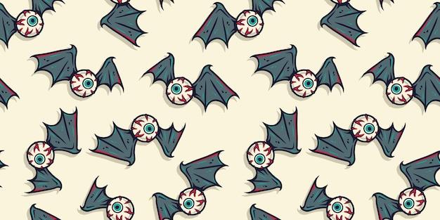 Halloween-patroon met botten, oogbol en vleugels