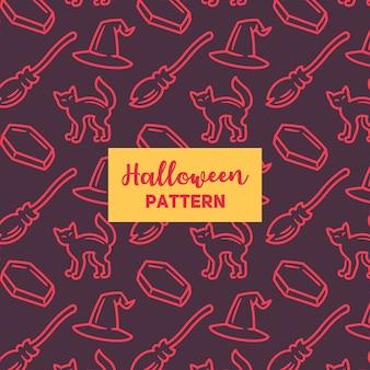 Halloween-patroon met een kat, een hoed en een bezem.