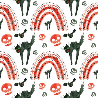 Halloween-patroon met rode schedels, vleermuizen, bange zwarte kat en regenbogen spooky digitaal papier