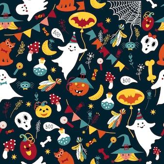 Halloween-patroon met schattige spookpompoen naadloos met grappige schedelheks op hoed