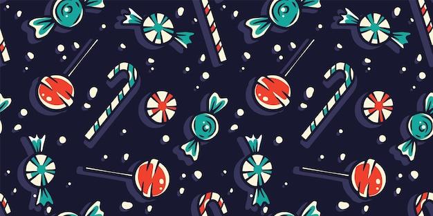 Halloween-patroon met snoep en snoep voor ontwerp