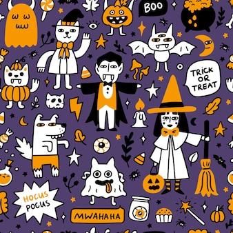 Halloween-patroon met spookachtige karakters en vakantieattributen