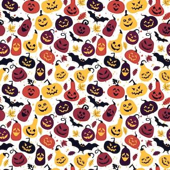 Halloween-patroon met verschillende pompoenen