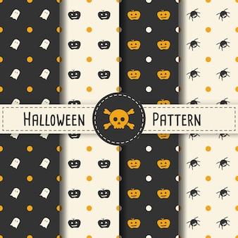 Halloween patroon set achtergrond voor halloween party night. naadloze patroon halloween vector voor vakantie met spinnen en web voor banner, poster, wenskaart, party uitnodiging illustratie.