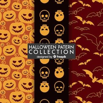 Halloween-patrooninzameling in vlak ontwerp