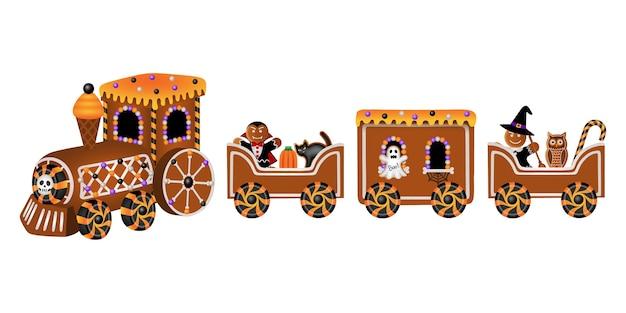 Halloween-peperkoektrein met suikergoed en koekjes