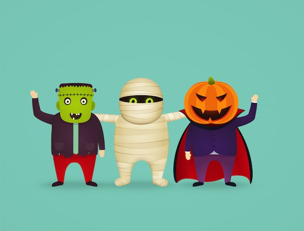 Halloween-personages in kostuummummie, vampier, frankenstein.