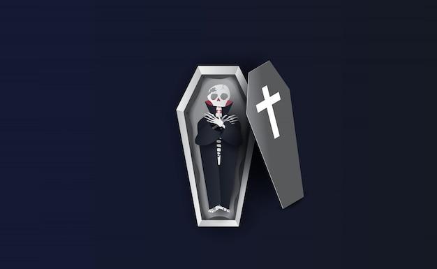 Halloween-personages van skelet in doodskist.