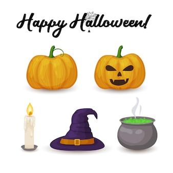 Halloween pictogrammen cartoon pompoen kaars heksenhoed en ketel met groene toverdrank geïsoleerd op een witte achtergrond