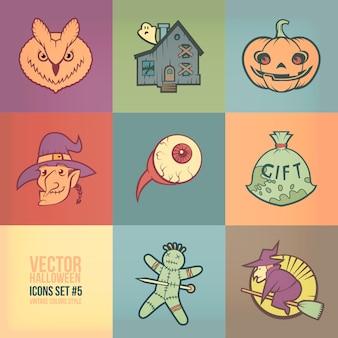 Halloween pictogrammen instellen. vintage kleuren stijl Premium Vector