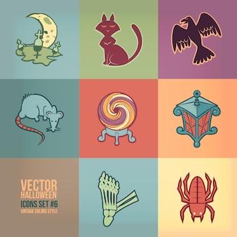 Halloween pictogrammen instellen. vintage kleuren stijl