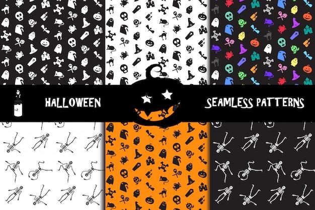 Halloween-pictogrammen naadloze patronen instellen
