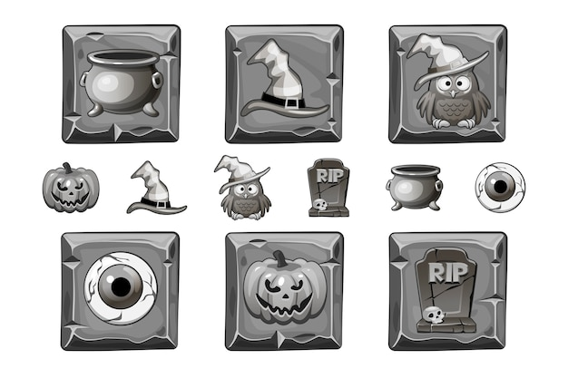 Halloween-pictogrammen op steenvierkant. halloween-stijlpictogram in gebleekte kleur wordt geplaatst die