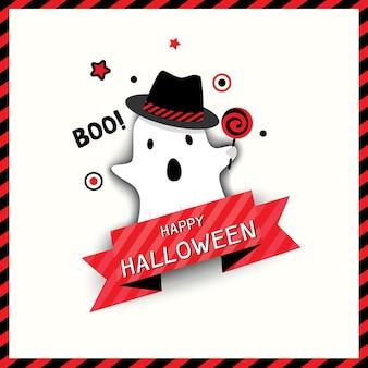 Halloween-pictogramontwerp met spookmonster. Premium Vector