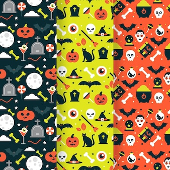 Halloween platte ontwerp naadloze patronen