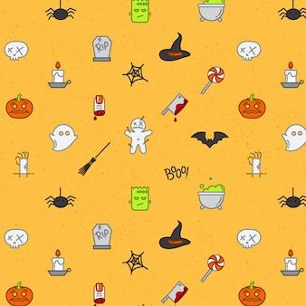 Halloween platte patroon zachte kleur