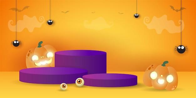 Halloween-podium voor productdisplayconcept standshow en showcase met pompoenpatch