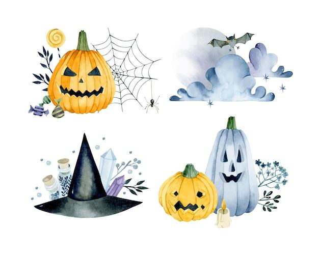 Halloween pompoen aquarel geïsoleerde composities set