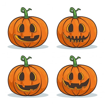 Halloween pompoen cartoon gezichten tekencollectie