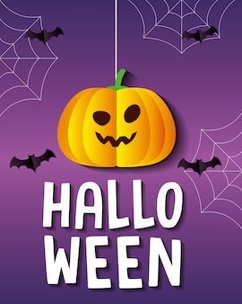Halloween pompoen cartoon opknoping met vleermuizen ontwerp, vakantie en eng thema