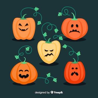 Halloween pompoen collectie plat ontwerp