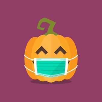 Halloween-pompoen die medisch masker draagt. grappige cartoon-emoticons. coronavirus concept
