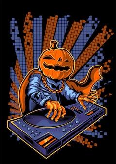 Halloween pompoen dj karakter