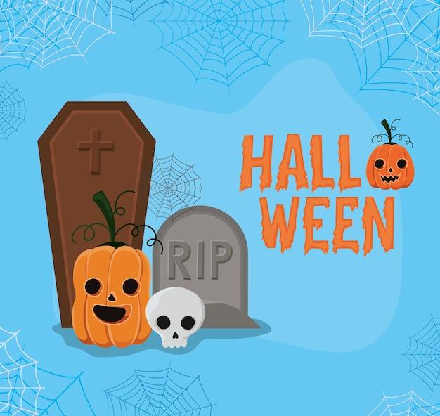 Halloween-pompoen en schedelbeeldverhaal met gravenontwerp, vakantie en eng thema